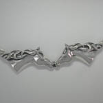 Close up of Sterling Silver horse head necklace