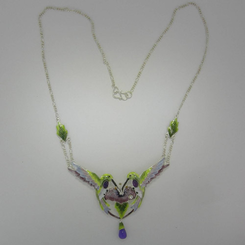 Sterling Silver Enamel Amethyst Hummingbird necklace
