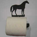 Wrought Iron Horse bathroom tissue holder with tissue