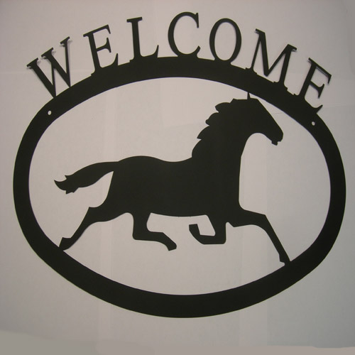 Wrought Iron Galloping Horse Welcome Sign