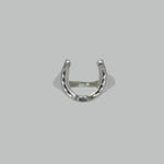 Sterling Silver top view of horseshoe ring