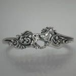 Sterling Silver galloping horse cuff bracelet with filigree