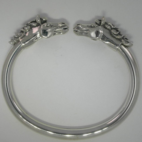 Sterling Silver flexible horse head cuff bracelet