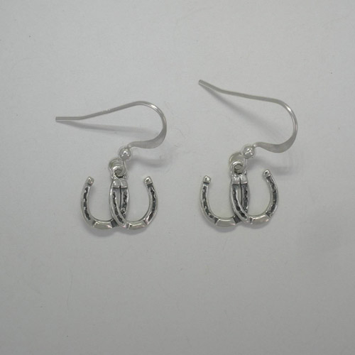 Sterling Silver small double horseshoe dangle earrings