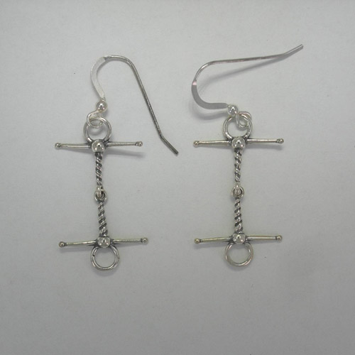 Sterling Silver twisted wire snaffle bit dangle earrings