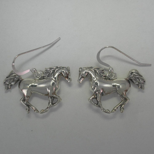 Sterling Silver large galloping Arabian dangle earrings
