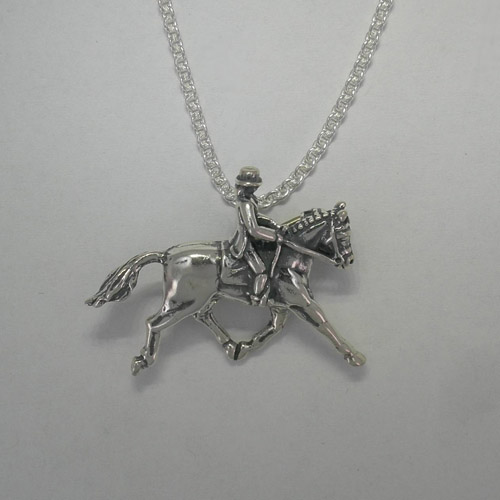Sterling Silver Dressage horse and rider necklace