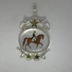 Sterling Silver/14 kt. y.g. Mother of Pearl Dressage Pendant