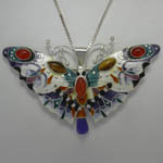 Sterling Silver enamel and gemstone butterfly pin/pendant