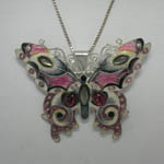 Sterling Silver enamel and Garnet butterfly pin/pendant