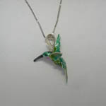 Side of flying Hummingbird necklace