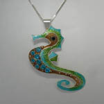 Sterling Silver whimsical Sea Horse pin/pendant
