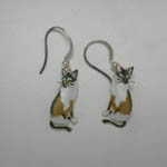 Sterling Silver enamel Snowshoe Siamese earrings