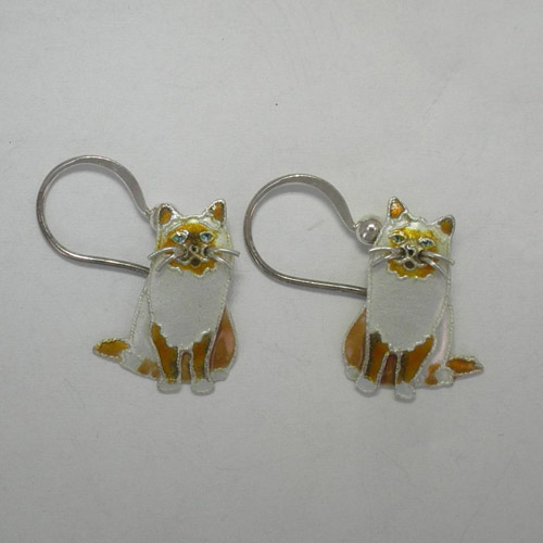 Sterling Silver enamel Birman cat dangle earrings