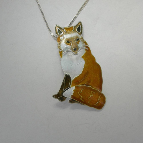 Sterling Silver enamel Red Fox necklace