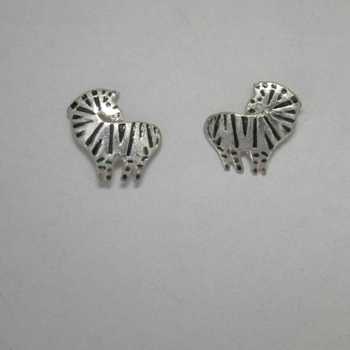 Sterling Silver enamel Zebra post earrings