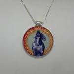 Reverse side of enamel reversible horse necklace