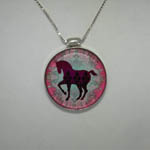 Sterling Silver Reversible enamel horse necklace