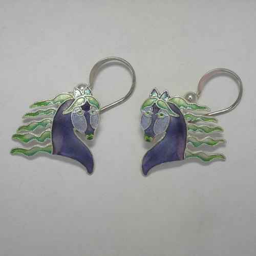 Sterling Silver enamel Fanciful Horse enamel dangle earrings