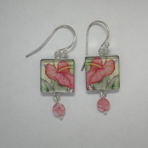 Sterling Silver Tropical Beauty dangle earrings