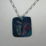 Pewter tile two horse heads necklace
