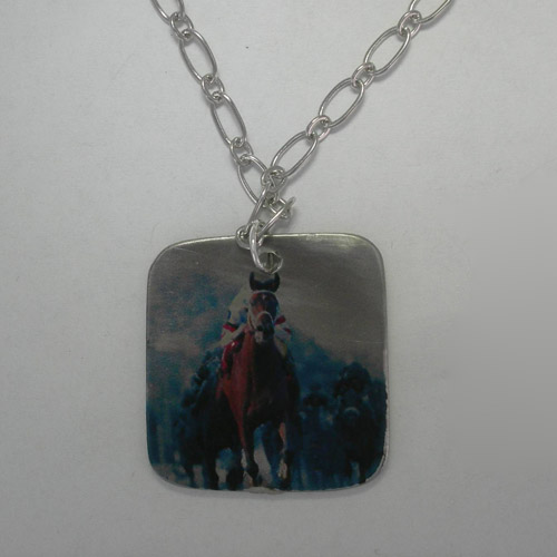 Pewter tile Thoroughbred necklace