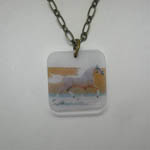 Acrylic Palomino horse necklace