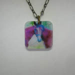 Acrylic two horses one head necklace