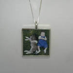 opposite side of large Sterling Silver photo necklace