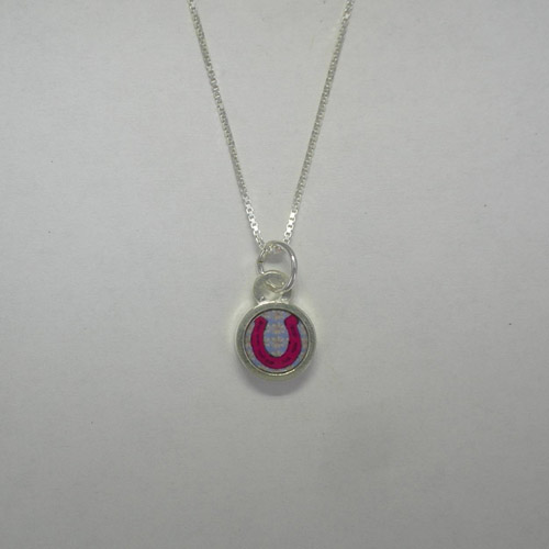 Sterling Silver reversible mini circle horseshoe necklace