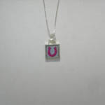 Sterling Silver reversible mini square horseshoe necklace