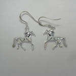 Sterling Silver Opal trotting horses dangle earrings