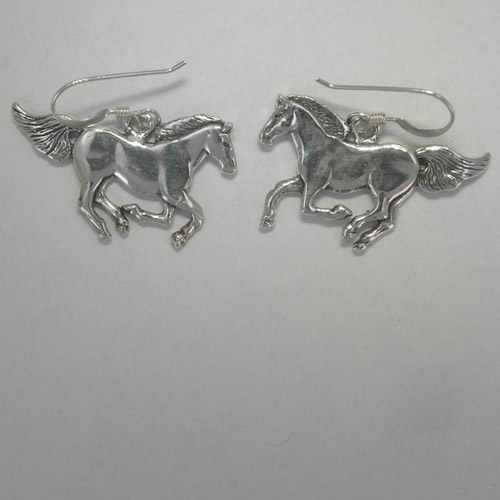 Sterling Silver galloping horse dangle earrings