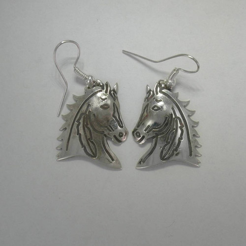 Sterling Silver Indian horse head dangle earrings