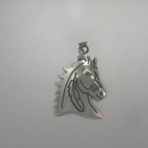Sterling Silver Indian Horse Head Pendant