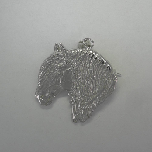 Sterling Silver Fresian Horse head pin/pendant