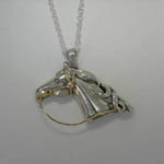 Sterling Silver horsehead with 14 kt yg bridle necklace