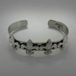 different angle of fleur de lis cuff bracelet