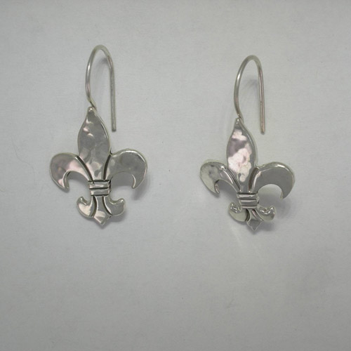 Sterling Silver fleur de lis dangle earrings