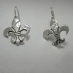 different angle of fleur de lis dangle earrings