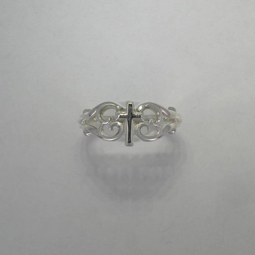 Sterling Silver filigree cross ring