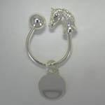 Sterling Silver Plated horse head Key Ring