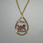 Copper galloping mare and foal necklace
